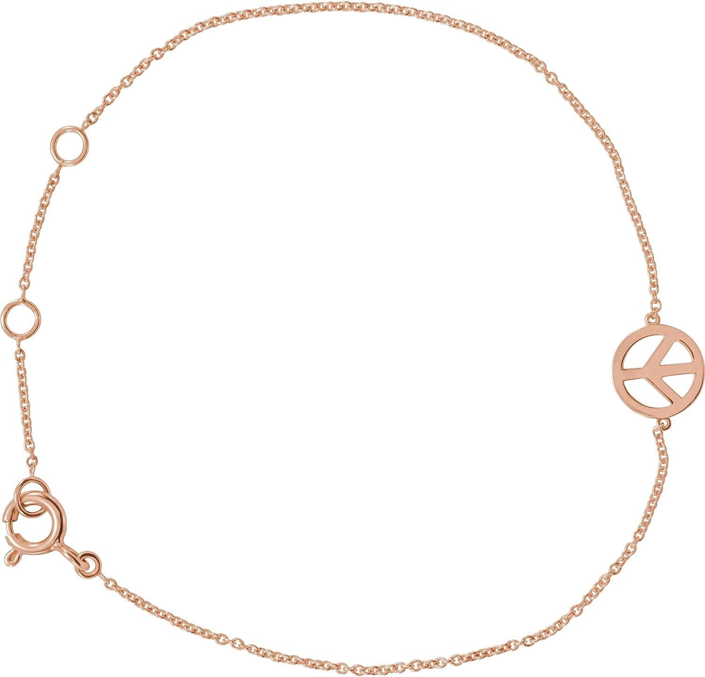 Petite Peace Sign 5.75  6.75 Bracelet in 14k pink gold