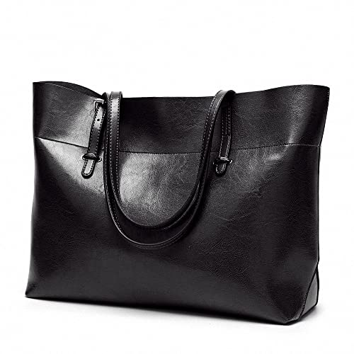782f8ec493 Womens Soft Leather Handbags Large Capacity Retro Vintage Top-Handle Casual Tote  Bags Black