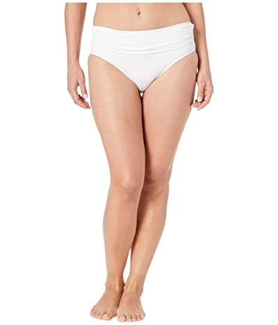 LAUREN Ralph Lauren Beach Club Solids Wide Shirred Banded Hipster Bottom (White) Women