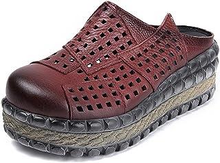 [Maysky] 爽やか春夏コーデ ミュール サボ 6cm厚底 サンダル ウェッジソール 美脚 ウェッジソール 本革 軽量 コンフォート 3E 婦人靴 レディース サンダル