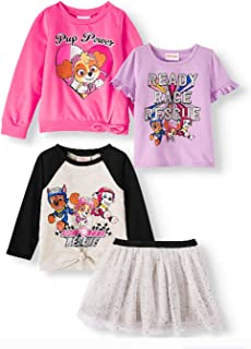 Paw Patrol Ready Race Rescue Toddler Girl Sweatshirt, Tie-Front Long Sleeve Top, Ruffle Short Sleeve Top & Tulle Skirt, 4piece Outfit Set (3T)