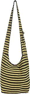 Vishes Gestreifte Umhängetasche Beuteltasche Grob Gewebte Baumwolle Innentasche Damen Herren Unisex schwarz-gelb