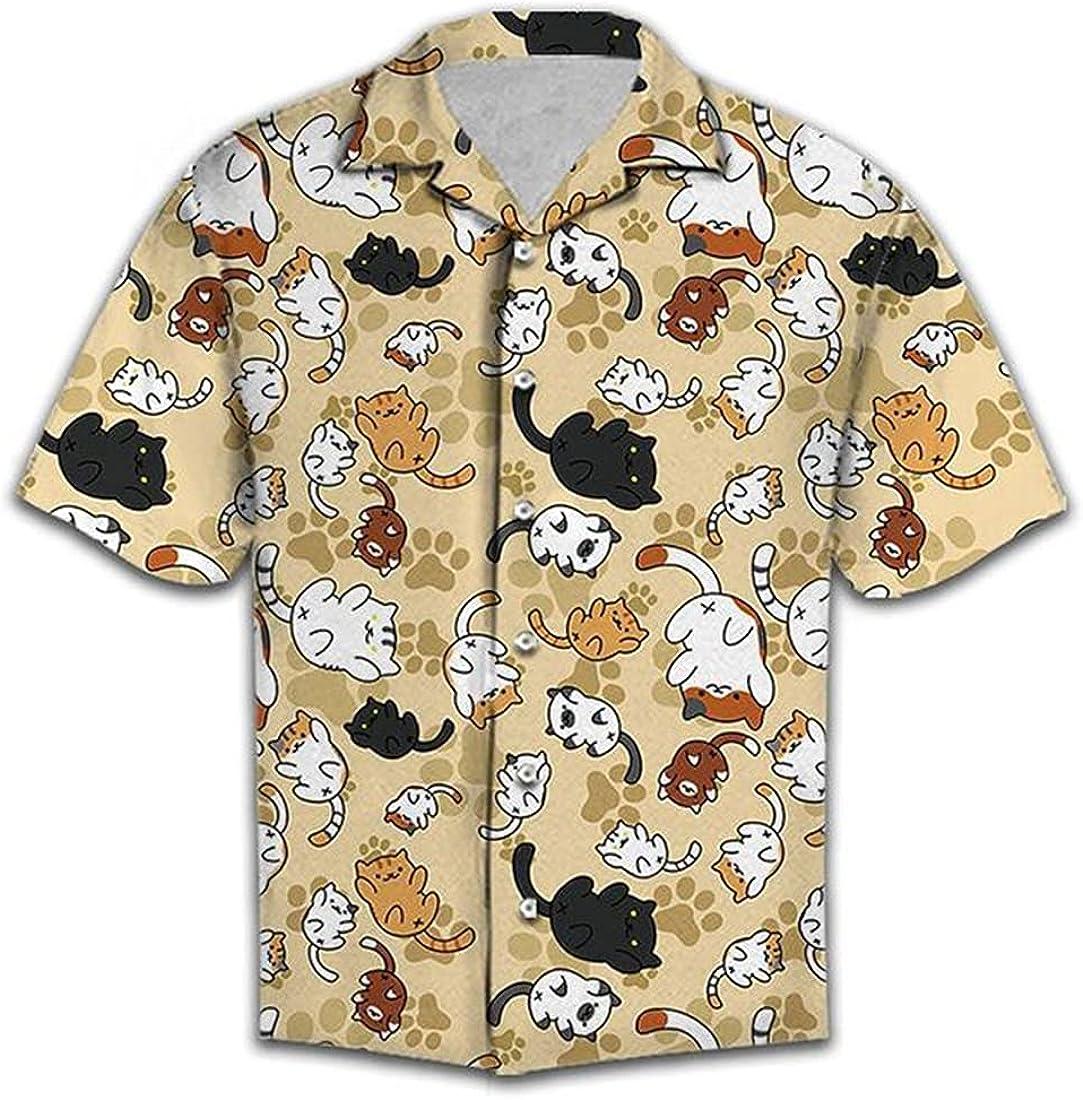 Summer Hawaiian Shirts for Men Women - Animal Button Down Mens Hawaiian Shirts Short Sleeve Set 9