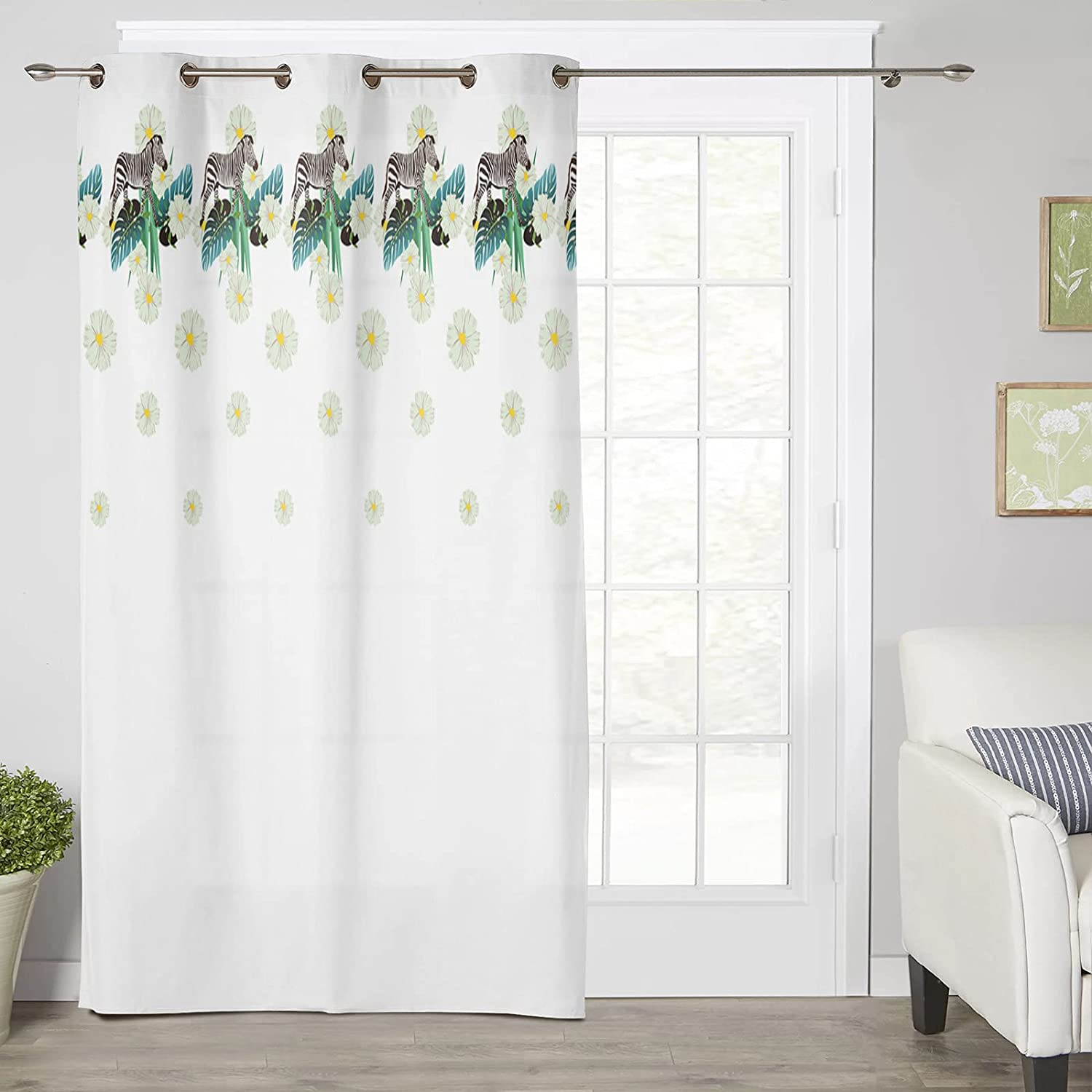 Thermal Insulated Large discharge sale Window Curtain Tropical Pl Max 59% OFF Animal Flower Zebra