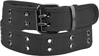 moonsix Canvas Web Belts for Men,Solid Color Casual Double Hole Grommet Belt