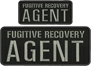 Fugitive Recovery Agent 4x10 and 2.5x6 Grey Letters with Hook on Back
