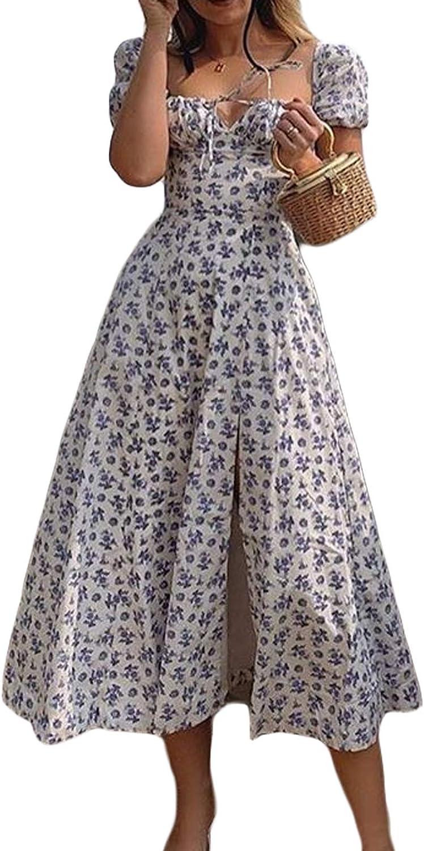 Maxi Dress for Women Boho Dress Cottagecore Dress Spring Summer Dress Wrap Floral Casual Vintage Square Neck Dress