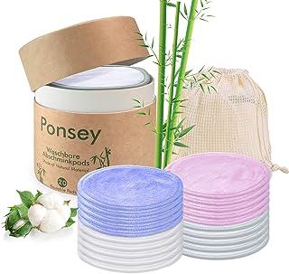 Coton demaquillant lavable – 20 Pcs Tampons réutilisables en coton et bambou avec..