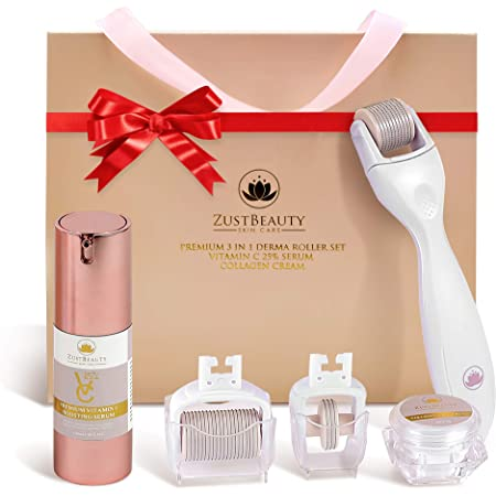 ZUSTBEAUTY | Derma Roller Kit With Vitamin C Serum & Collagen Cream | For Face, Body, Stomach, Lip | 0.3MM Titanium Microneedle Roller Heads: 180 for Near Eyes, 600 for Face & 1200 for Body | Free Set