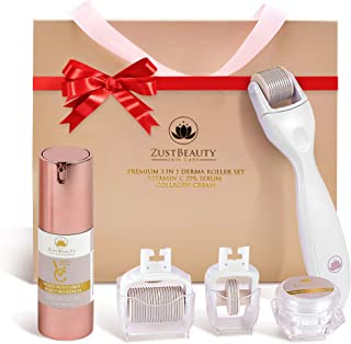 ZUSTBEAUTY | Derma Roller Kit for Face, Body, Stomach, Lip | 0.3MM Titanium Microneedle Roller Heads: 180 for Near Eyes, 6...