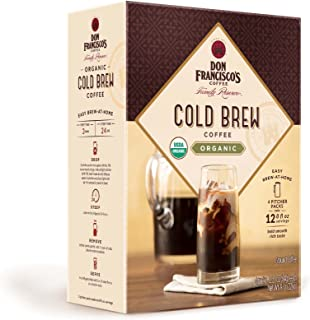 Don Francisco's Organic Cold Brew Coffee, Premium 100% Arabica Beans, 4 Pitcher Packs (makes 2 pitchers)