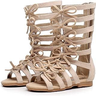 Girls Roman Zipper Bowknot Knee-High Gladiator Sandals