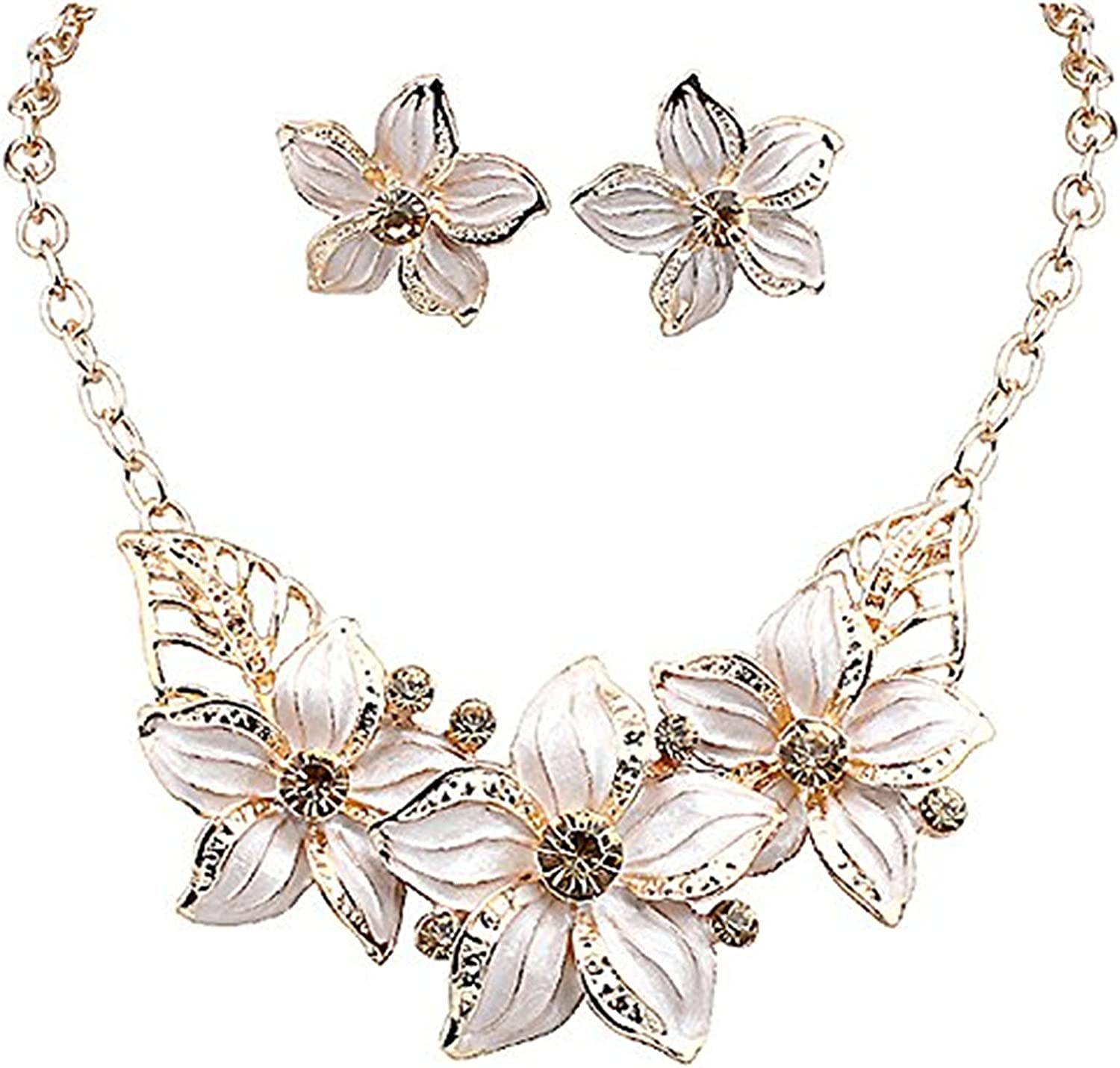 Zittop Fashion Women Crystal Flower Statement Gold Plated Necklace Earrings Jewelry Set (White)