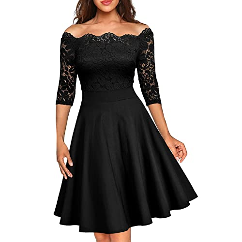 9c504c41457 MISSMAY Women s Vintage Floral Lace Half Sleeve Boat Neck Cocktail Formal  Swing Dress