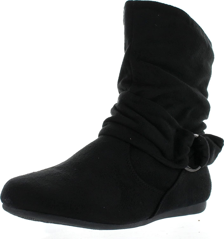Forever Selena-58 Women's Fashion Mid Calf Flat Heel Side Zipper Slouch Boots,Black,5