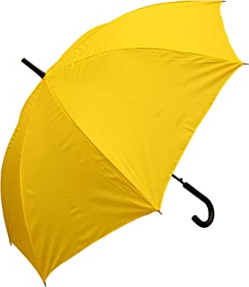 RainStoppers W032TH Auto Open European Hook Handle Arc Umbrella, Yellow, 48""