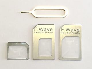 F.Wave 【Amazon限定】Coolで品のある シルバー カラー Silver nano SIM変換アダプター4点セット Cool Silver color(標準 マイクロ Nano) iPhone6S/6/6plus/5S/5C/4S/...