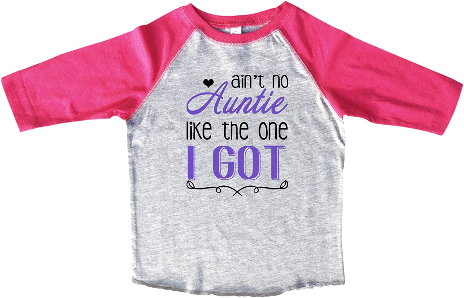 """Girls Cute Family Raglan """"Ain't No Auntie Like The One I Got"""" Toddler & Youth 3/4 Sleeves Baseball Tee"""