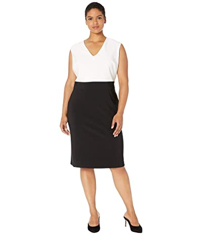 LAUREN Ralph Lauren Plus Size Jannette Two-Tone Dress (Black/Lauren White) Women