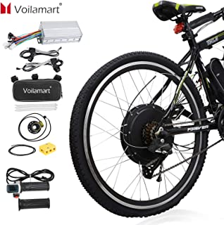 """Voilamart 26"""" Rear Wheel Electric Bicycle Conversion Kit, 48V 1500W E-Bike Powerful Hub Motor Kit with Intelligent Controller and PAS System, Restricted to 750W for Road Bike"""