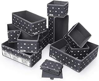 ilauke Lot de 12 Boites de Rangement, Organisateur de Tiroir Pliable Non-tissé pour Soutiens-Gorge, Chaussettes, Cravates,...