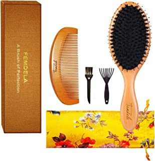 Hair Brush - Boar Bristle Hair Brush with Detangling Pins for Thick, Curly Dry or Wet Hair, Premium Paddle Detangler Brushes for Women Men Reach and Massage Scalp, Adding Shine, Brush Cleaner Included