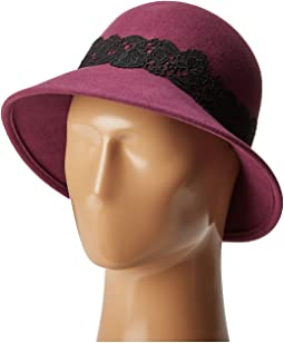 WFH8037 Cloche with Black Lace Trim