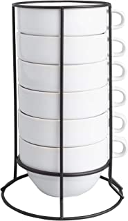 World Market White Stackable Jumbo Coffee Mugs - Espresso Stacking Cups comes with Matte Black Rack for Easy Kitchen Organizing - Perfect for Coffee, Cappuccino, Latte, Café Mocha and Tea - Set of 6