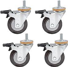 4 stks Meubelwielen Stam Caster Wielen 4inch 100mm Rubber Moving Wheels Heavy Duty Swivel Castor voor Trolley, Vervanging ...