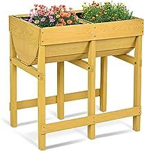 brun rouge potager-a-etage potager-aromatique potager-au-balcon potager-bac 80 x 88 x 43,5 cm Relaxdays 10020744 Potager sur pied en bois de sapin 4 pieds surface inférieur rangement jardiniere bac à fleurs pot HxlxP