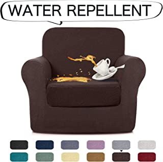 AUJOY Stretch 2-Piece Chair Covers Water-Repellent Dog Cat Pet Proof Couch Slipcovers Protectors (Chair, Coffee)