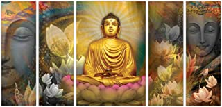 Art Amori Beautiful Lord Buddha set of 5 MDF PaintingMulticolour 12x18 Inch - 1 Piece + 6x18 Inch-4 pieces for Wall Painti...