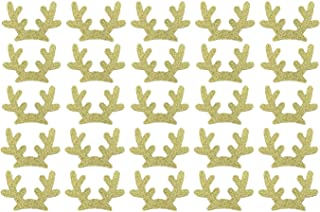 Zhiheng 25 Pack Glitter Reindeer Antlers Felt Applique Kits Santa's Elk Antlers Felt Patches Sheets for Dogs Hair Accessories Scrapbook Cake Topper Embellishment Craft Christmas Decorations (Gold)