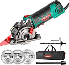Mini Circular Saw, HYCHIKA Compact Circular Saw Tile Saw with 3 Saw Blades 4A Pure Copper..