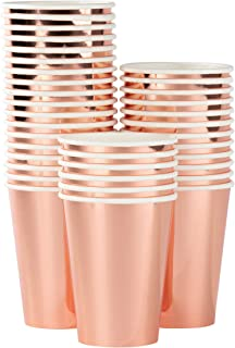 Rose Gold Paper Cups - 36-Pack Disposable 12oz Cups, Rose Gold Foil Drinking Cups for Cold Beverages, Party Decoration Supplies