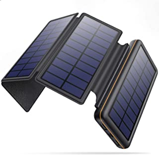 ソーラーチャージャー モバイルバッテリー 大容量 26800mAh 【4枚ソーラーパネル Type-C/MicroUSBの入力対応】 折り畳み式 ソーラーモバイルバッテリー 2台同時充電 残量表示 太陽光充電 地震/災害/旅行/アウトドア活動 ...