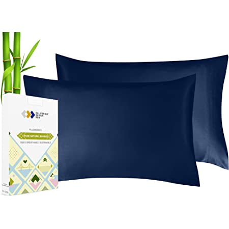 100% Vegan Silk Pillowcases - Set of 2, Plant Based Bamboo Fabric, Soft & Cooling, Breathable & Hypoallergenic, Luxury Pillow Cases for Hair & Skin (King, Navy Blue)