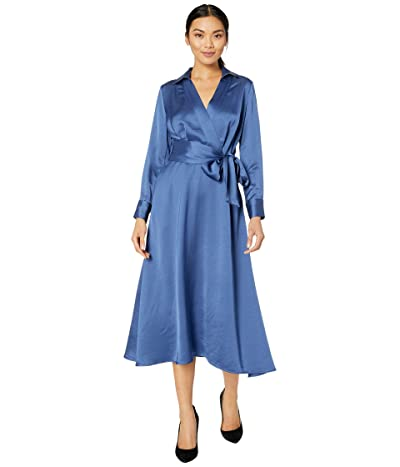 Tahari by ASL Long Sleeve Charmeuse Faux Wrap Dress (Periwinkle) Women