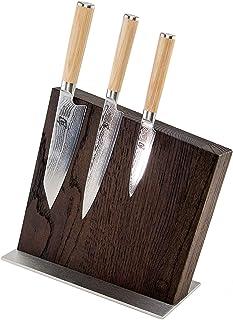 Palatina Werktstatt ® | Kai Shun Classic White Set de couteaux damassés + bloc à couteaux magnétique massif en chêne fumé ...
