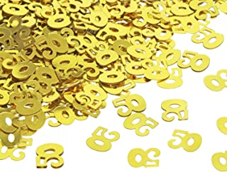 Shapenty Number 50 Confetti 50th Birthday Golden Wedding Anniversary Party Supplies Confetti for Table Decoration and DIY Craft Invitation Cards Album Pic Frame Gift Bags Decor (Gold, 1000PCS)