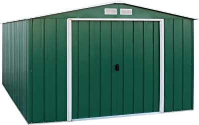 Duramax Eco 10 x 12 Hot-Dipped Galvanized Metal Garden Tool Storage Shed-Green with off-White Trimmings Capannone da Giardino in Metallo, Verde/Bianco Sporco
