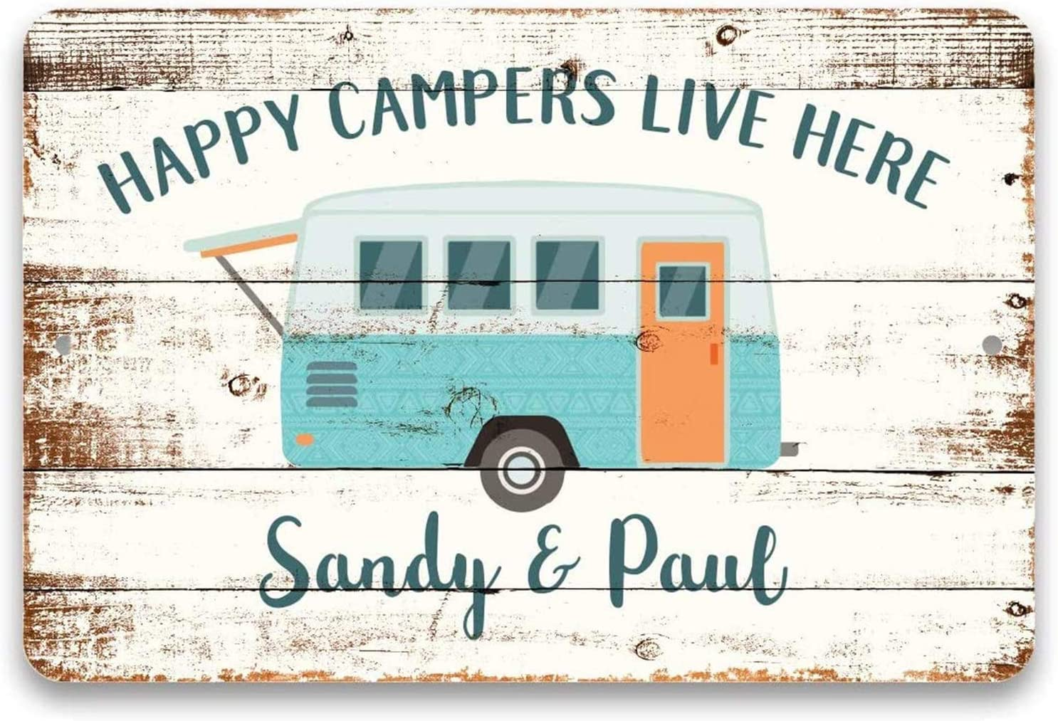 Personalized Camping Decor Sign,Happy Campers Live Here Retro Vintage Metal Plaque Home Decor Sign
