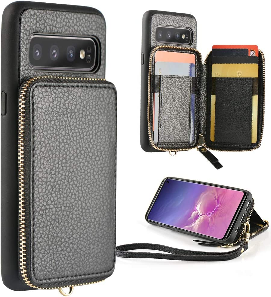 Samsung Galaxy S10 Wallet Case,ZVE Galaxy S10 Case with Card Holder Zipper Wallet Case Handbag Purse Shockproof Protective Case Cover for Samsung Galaxy S10 (2019),6.1 inch - Black