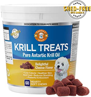 Krill Treats Pure Antarctic Krill Oil Soft Chew Dog Treats - With Shed-Free Formula - Rich in Omega 3 Fatty Acids and Astaxanthin Anti-Oxidant - Low Calorie, Gluten-Free and Low Allergen - Made in USA