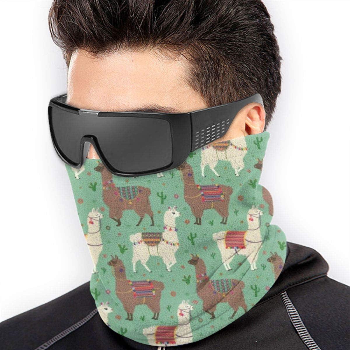 Scarf Fleece Neck Warmer Mexican Llama Alpaca Cactus Windproof Winter Neck Gaiter Cold Weather Face Mask for Men Women