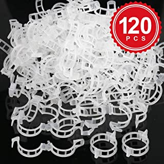 LEOBRO 120 PCS Plant Clips for Support, Plastic Garden Clips for Tomato, Trellis, Vine, Cucumber, Orchid to Grow Uprightly and Healthily, White, 2.5cm Inner Diameter