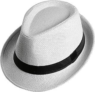 963c67d2d21 Locomo Men Women Straw Trilby Hat Fedora Short Upturn Brim FFH391BE1
