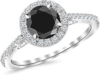 1.50 Ctw 14K White Gold Classic Round Diamond Engagement Ring w/ 1.03 Carat Blue Diamond