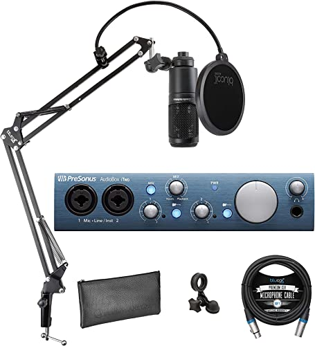popular PreSonus discount AudioBox iTwo 2x2 USB/iOS Audio Interface for Windows, Mac and iPad Bundle with Studio One Artist, Audio-Technica AT2020 Condenser Microphone, Blucoil Boom Arm, Pop Filter and 10' XLR discount Cable sale