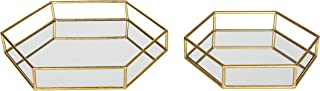 Kate and Laurel Felicia Metal Mirrored Ornate Set of 2 Decorative Trays, Gold Leaf Finish, (Renewed)